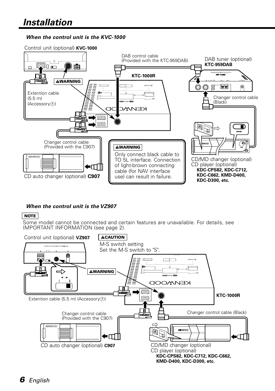 When the control unit is the kvc-1000, When the control unit is the vz907,  Installation | Kenwood KTC-1000R User Manual | Page 6 / 10