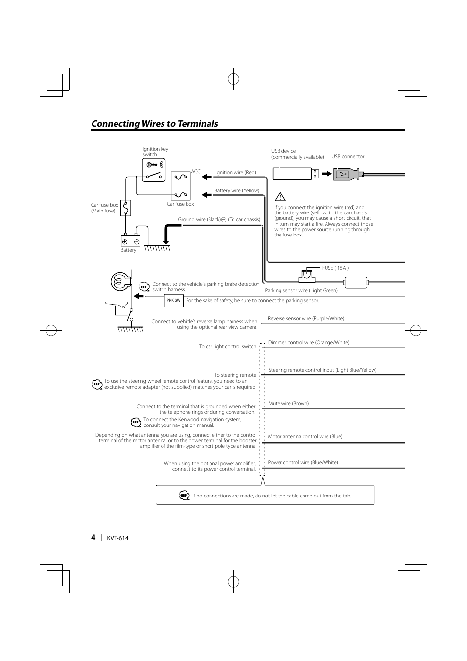 kenwood kvt 614 page4 connecting wires to terminals kenwood kvt 614 user manual page 4