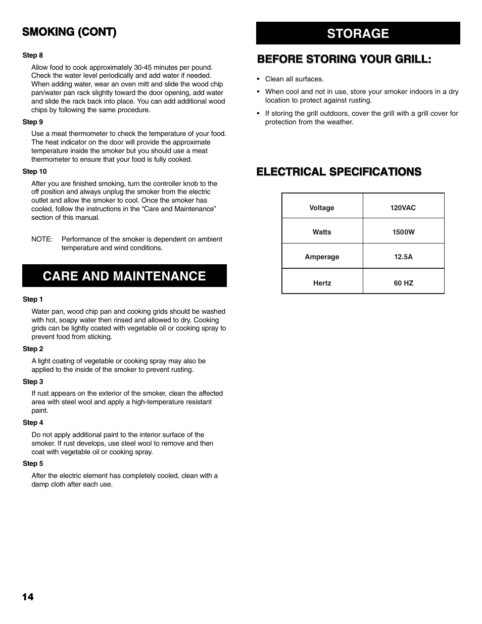 care and maintenance storage kenmore 125 15885800 user manual rh manualsdir com Brinkmann Electric Smoker Brinkmann Smoker Cooking Time Chart