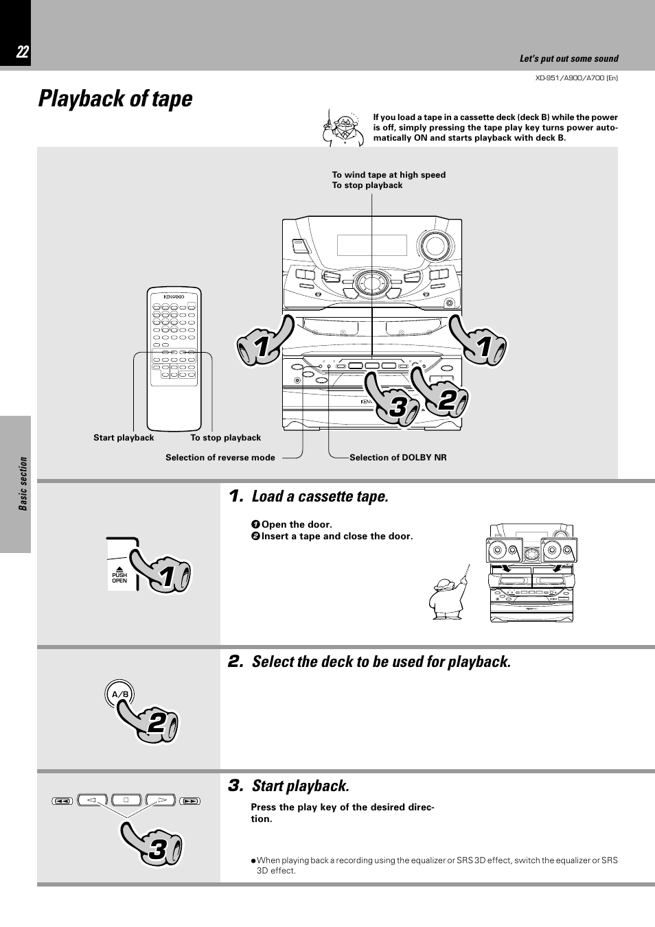 playback of tape kenwood xd a700 user manual page 22 68 rh manualsdir com Kenwood Chef Attachments Kenwood Major