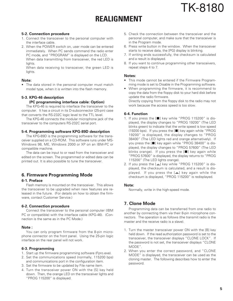 Firmware programming mode, Clone mode, Tk-8180 | Kenwood TK-8180