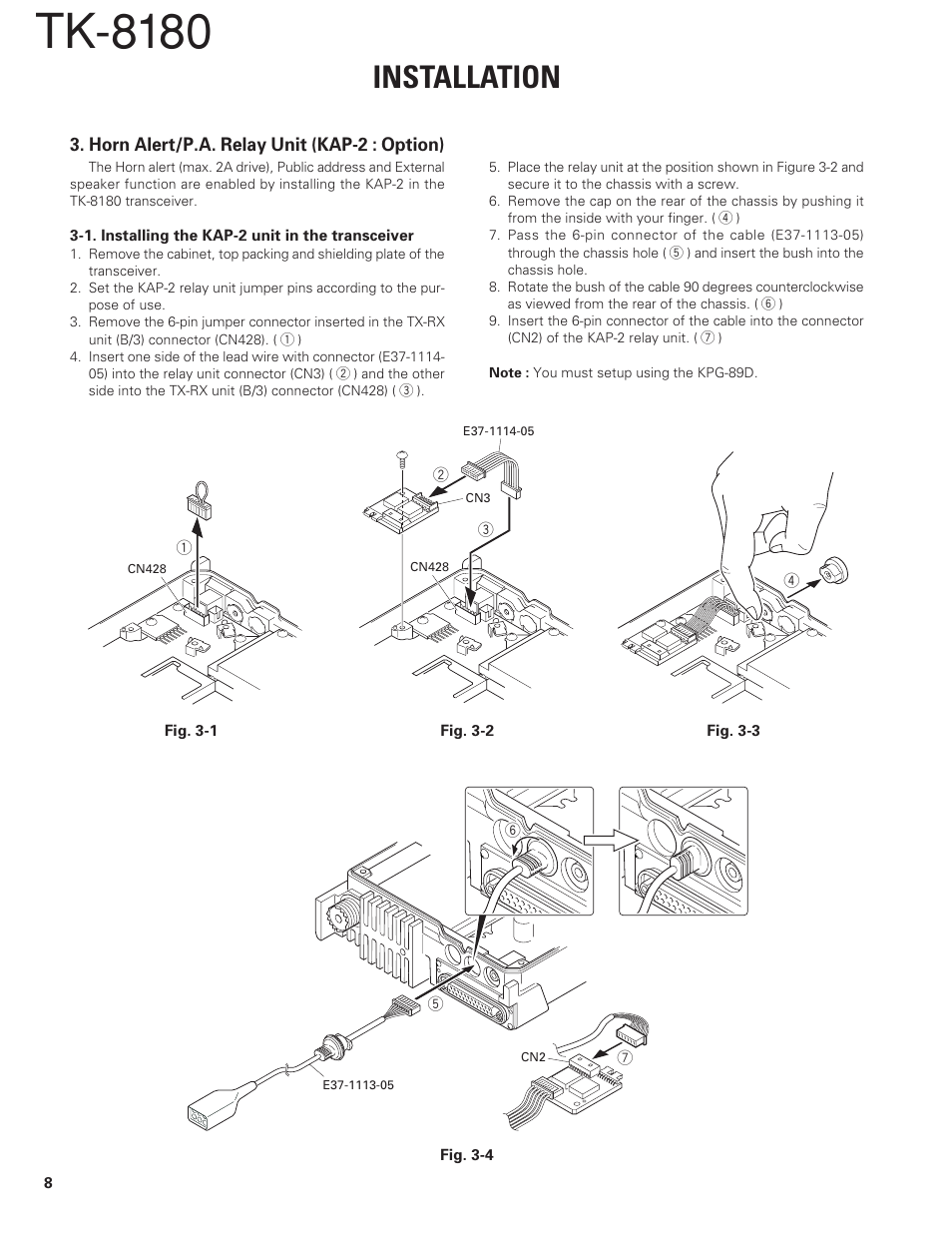 horn alert p a relay unit (kap 2 option), tk 8180, installationhorn alert p a relay unit (kap 2 option), tk 8180, installation kenwood tk 8180 user manual page 8 85