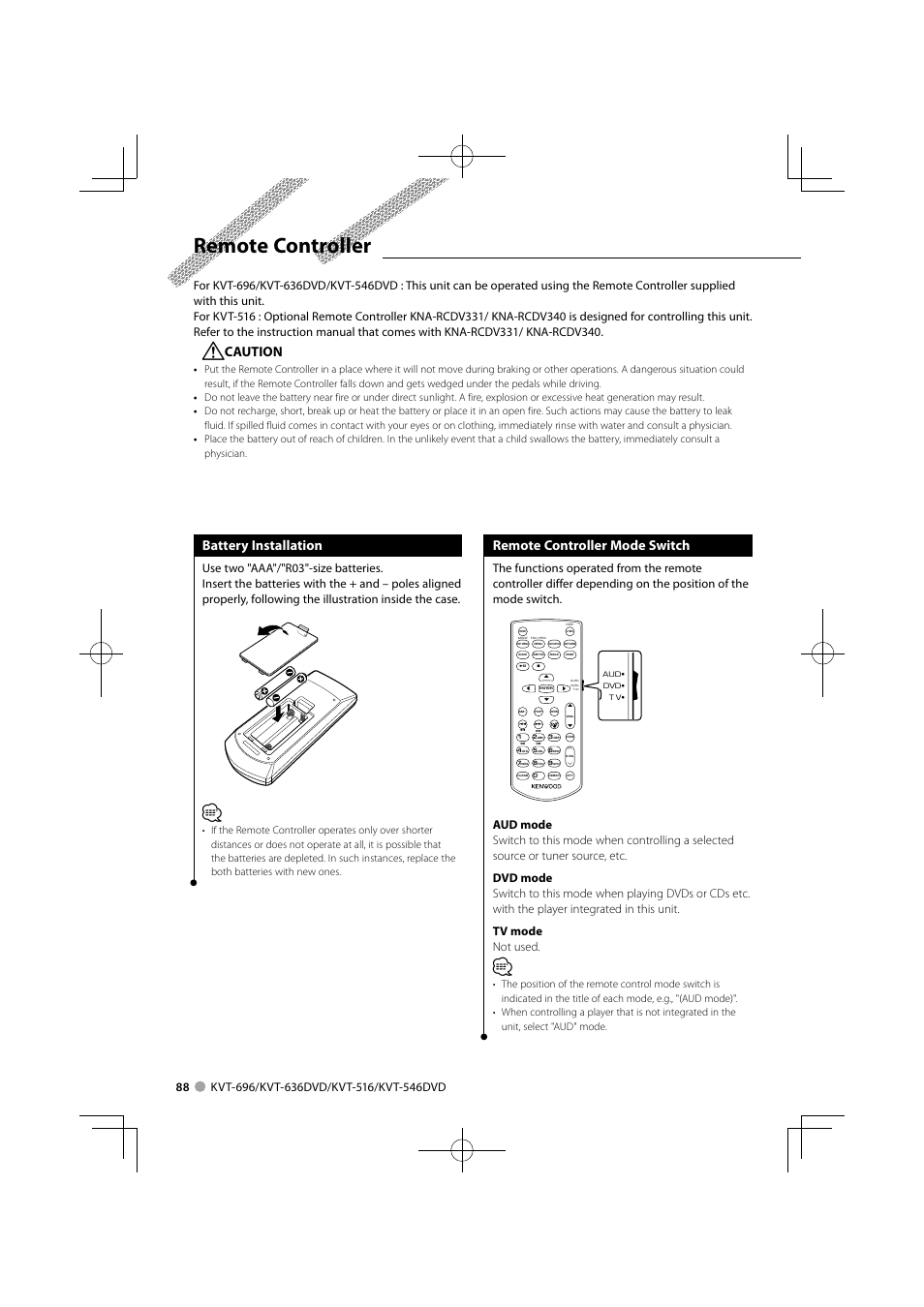 Kenwood Kvt 516 Remote Wiring Diagrams Kna G610 Diagram Controller Caution Battery Installation 696 Wire Harness