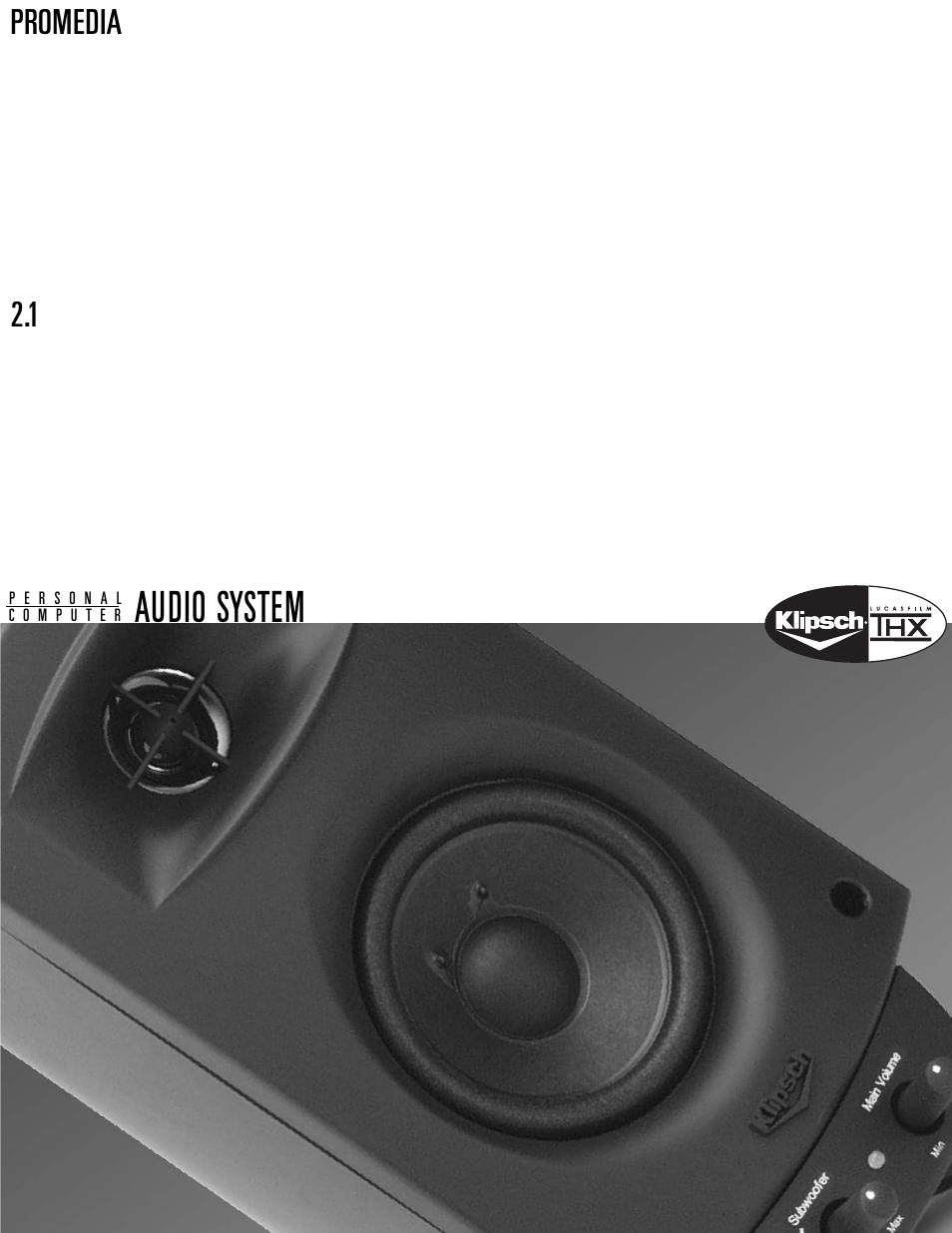 86 21 Promedia Klipsch Wiring Diagram 2 1 9 Pin Din Connector Ultra 5 Thx User Manual