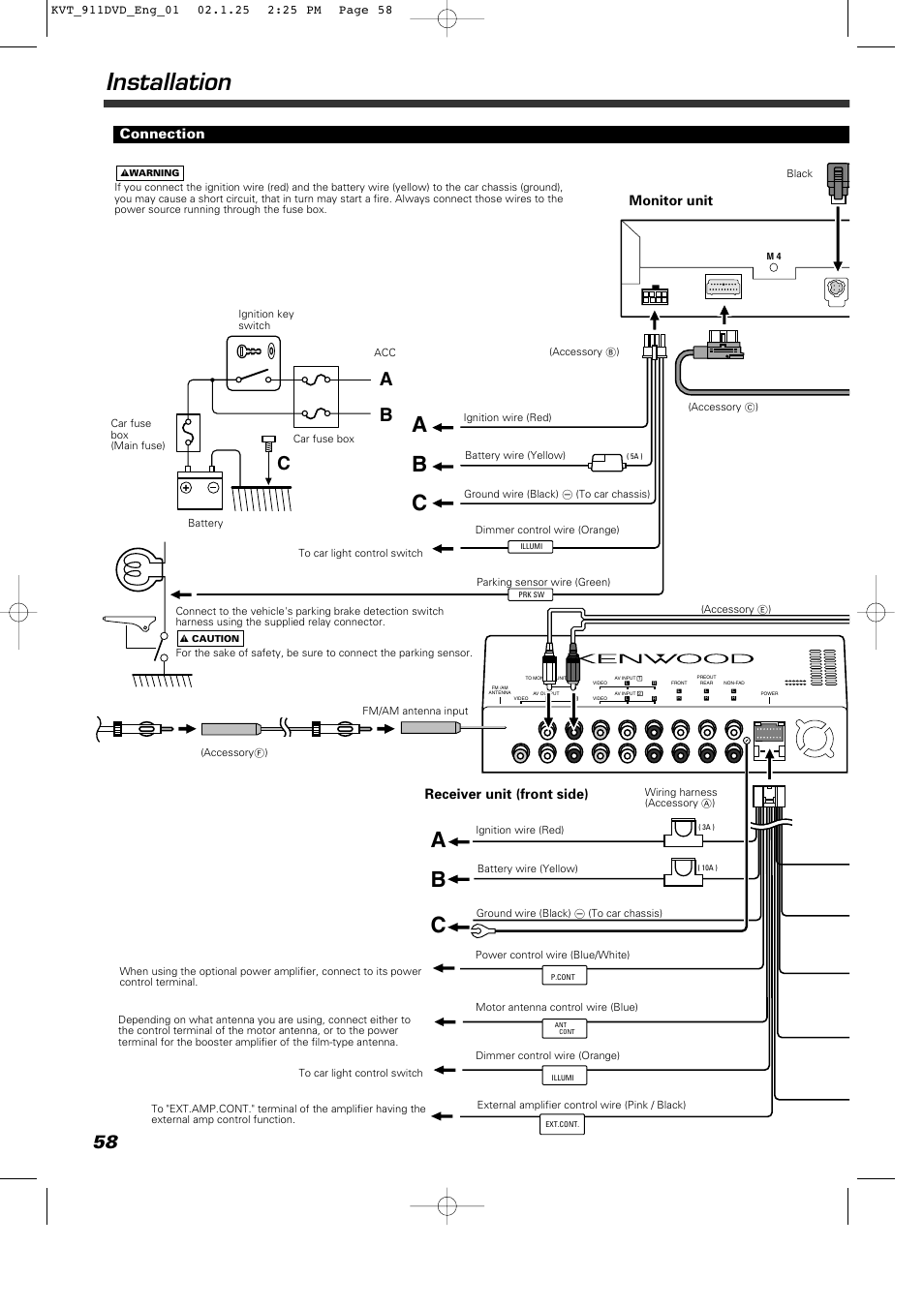 installation, ab c, connection | kenwood kvt-911dvd user manual | page 58 /  68  manuals directory