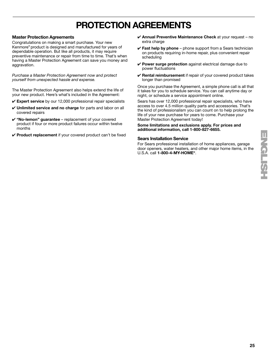 Protection Agreements Kenmore Elite He3 110 9787 User Manual