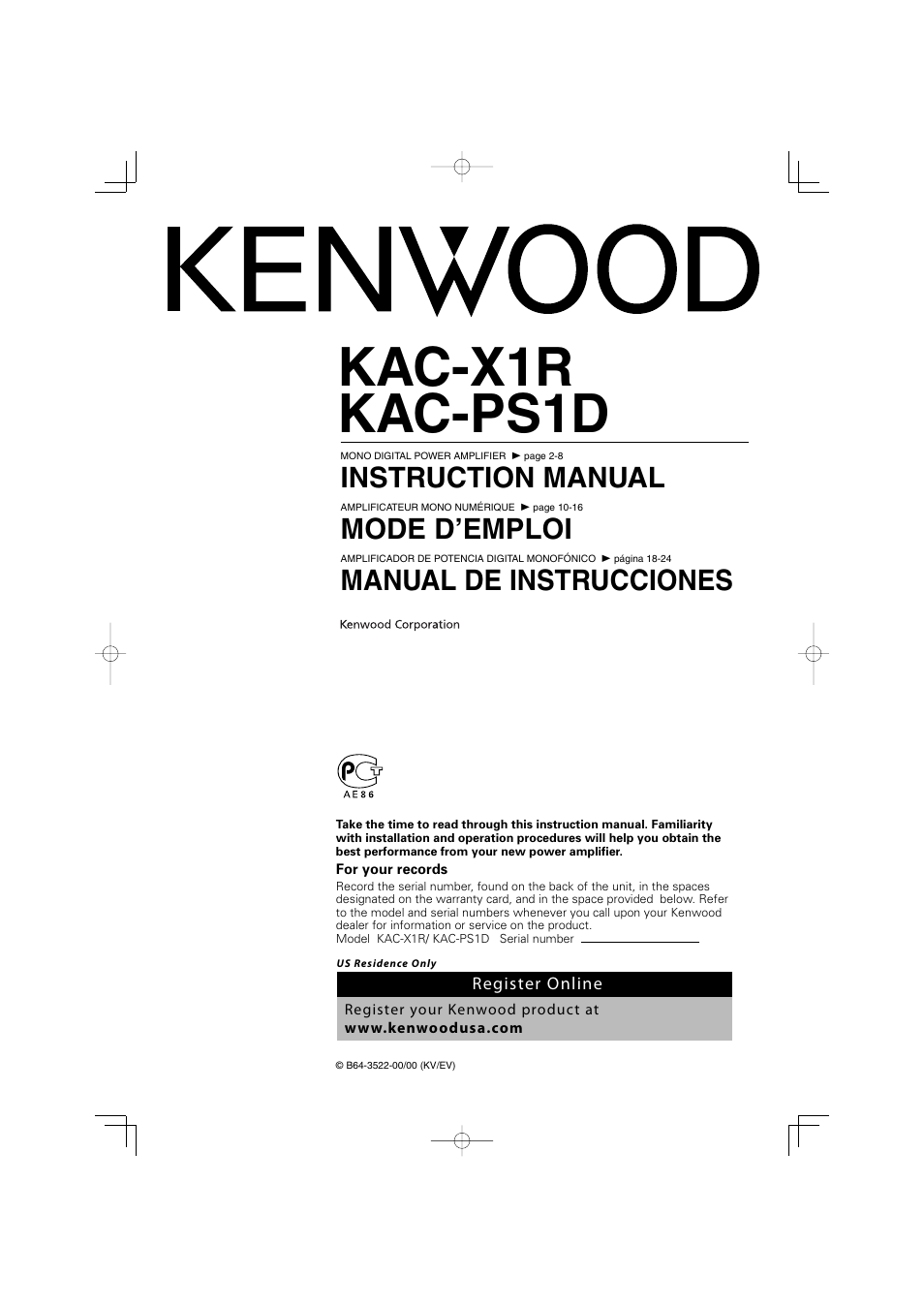 Kenwood Excelon Instruction Manual One Word Quickstart Guide Book Dnx890hd Wiring Diagram Kac X1r User 24 Pages Also For Ps1d Rh Manualsdir Com