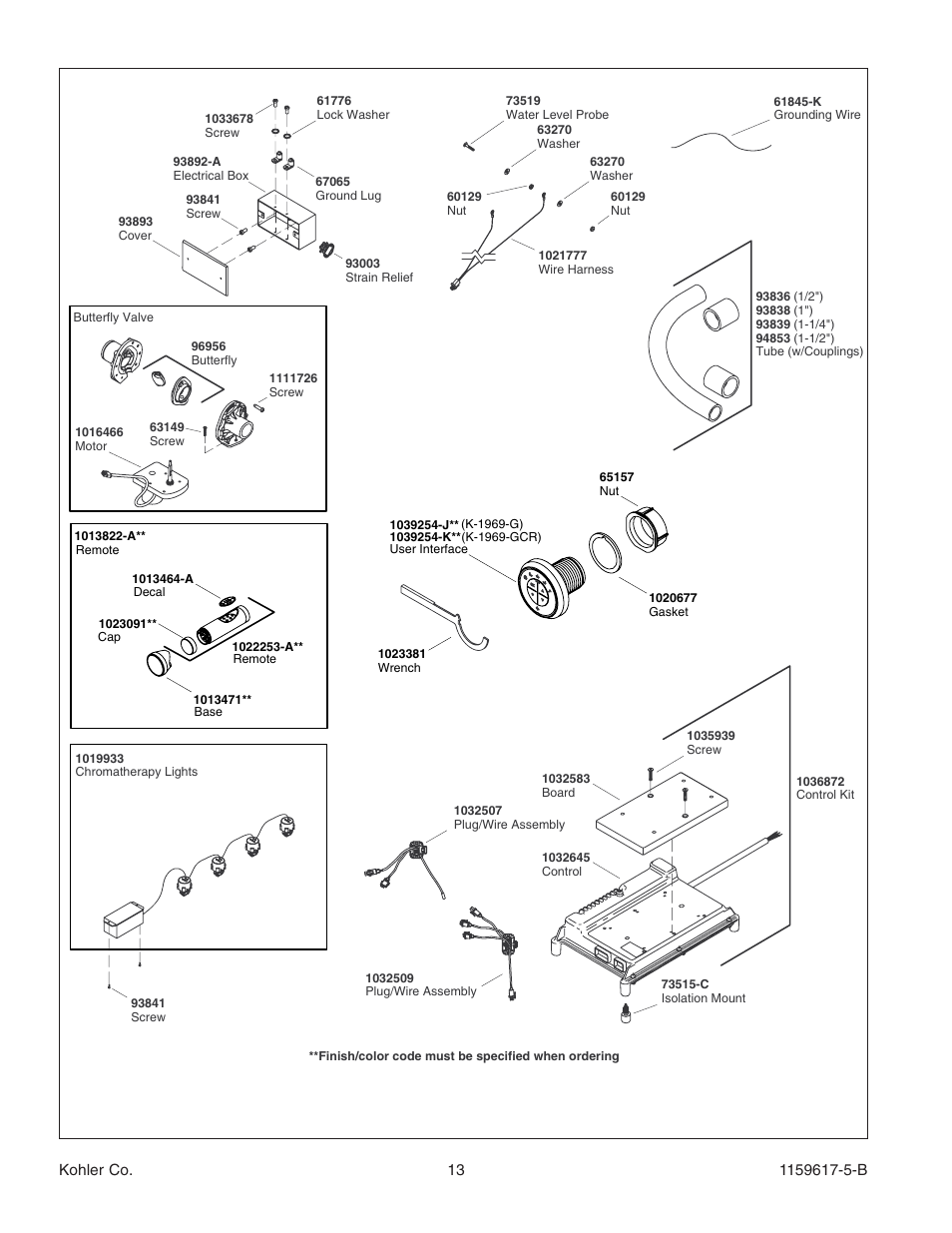 Kohler Bath With Airjets K 1969 User Manual Page 13 44 Wire Harness