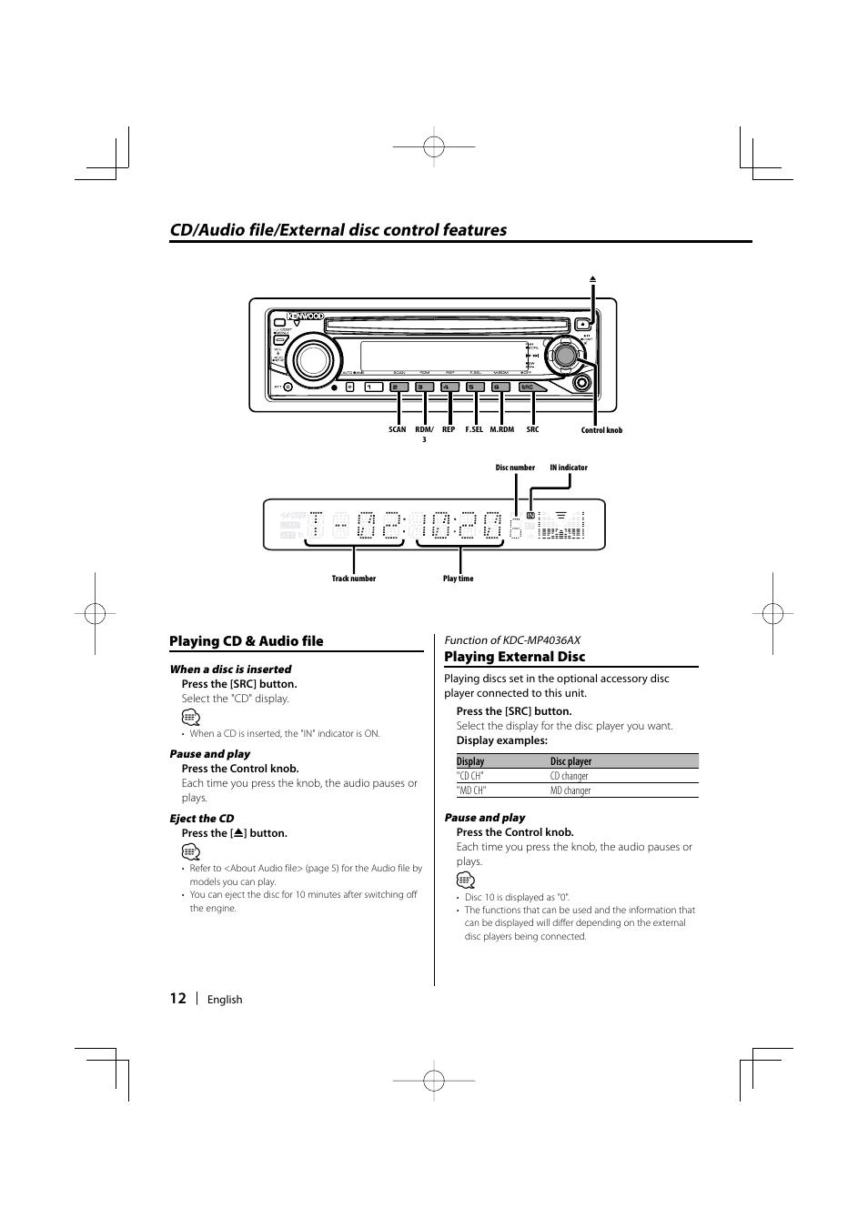 cd audio file external disc control features playing cd audio rh manualsdir com Kenwood Car Stereo Manual Kenwood DDX 370 Instruction Manual