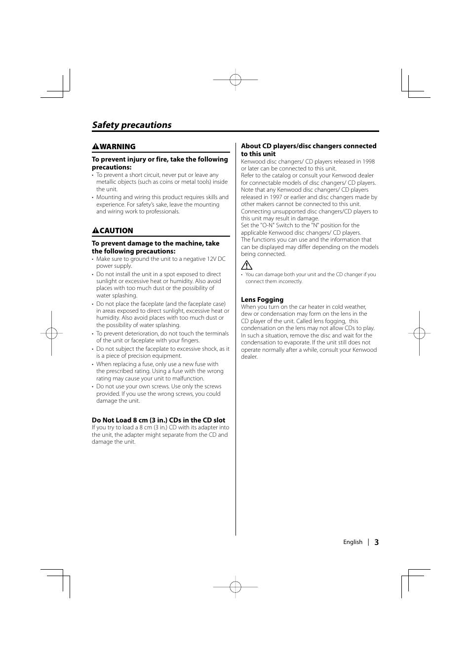 safety precautions kenwood kdc mp336ax user manual page 3 28 rh manualsdir com Kenwood Car Stereo Manual KDC-252U Kenwood User Manuals