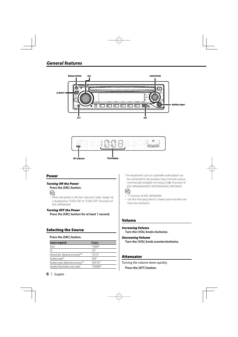 general features power selecting the source kenwood kdc mp336ax rh manualsdir com Kenwood eXcelon Manual Kenwood Car Stereo Manual