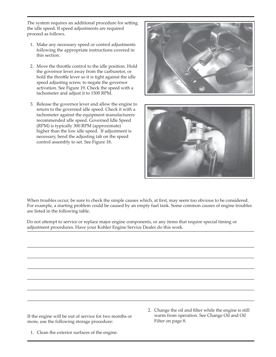 Troubleshooting, Storage | Kohler Courage SV720 User Manual