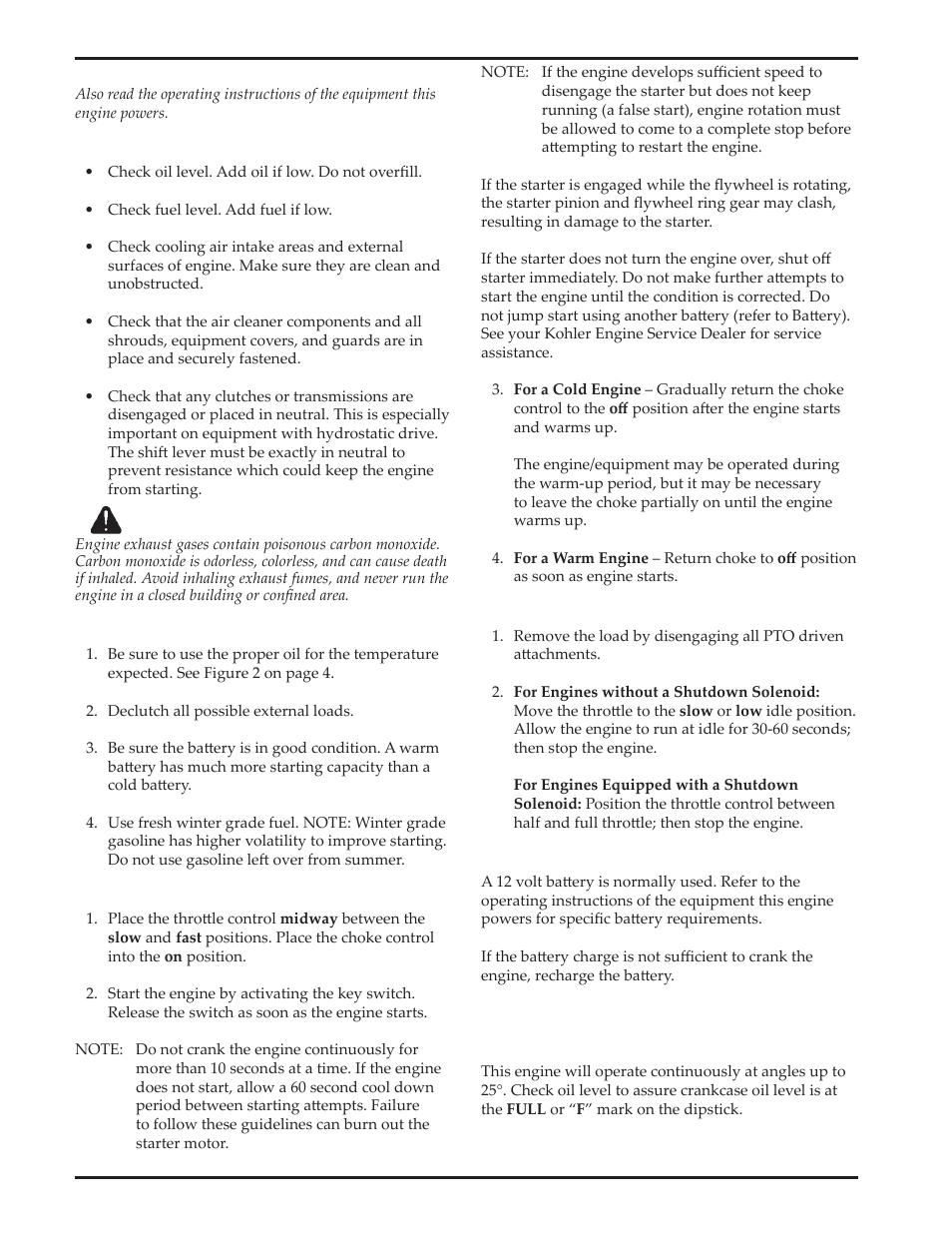 kohler courage sv720 user manual page 6 20 original mode rh manualsdir com Kohler Engine Parts Catalog Kohler Lawn Mower Engines