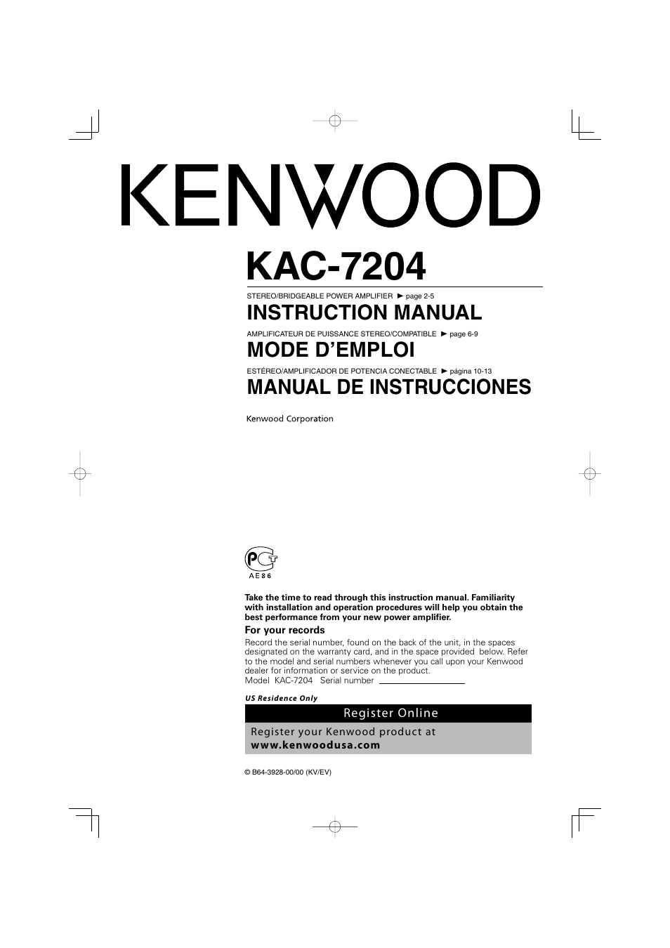 kenwood kac 7204 user manual 16 pages rh manualsdir com