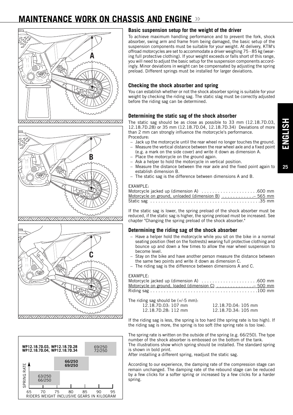 Maintenance work on chassis and engine, English, Ab c | KTM EXC-F