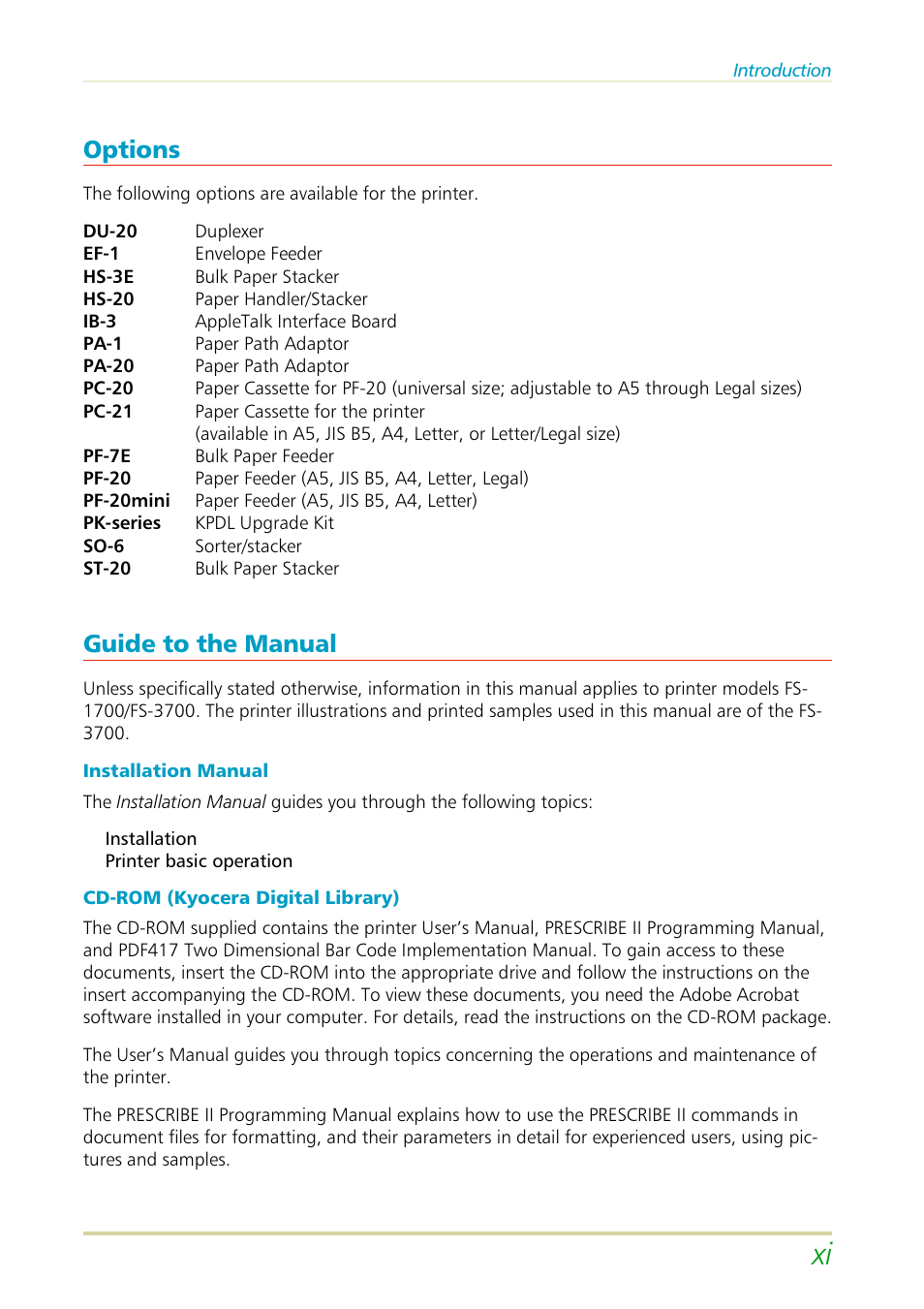 Options, Guide to the manual | Kyocera FS-3700 User Manual | Page 12 / 116