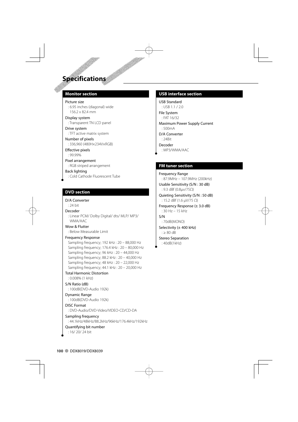 Specifications | Kenwood DDX8039 User Manual | Page 100 / 104