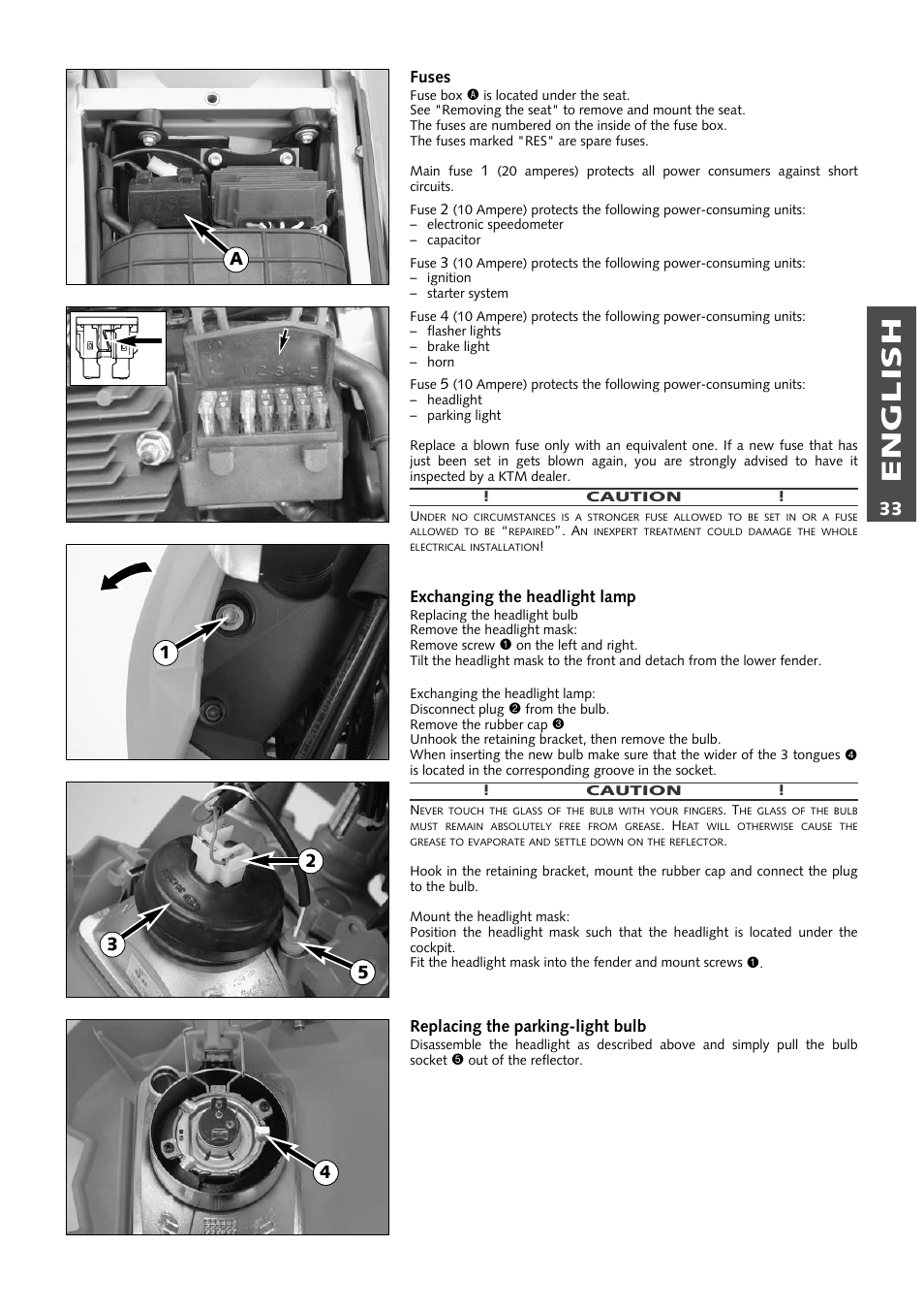 English Ktm 640 Lc4 Enduro User Manual Page 34 50 Fuse Box Removal