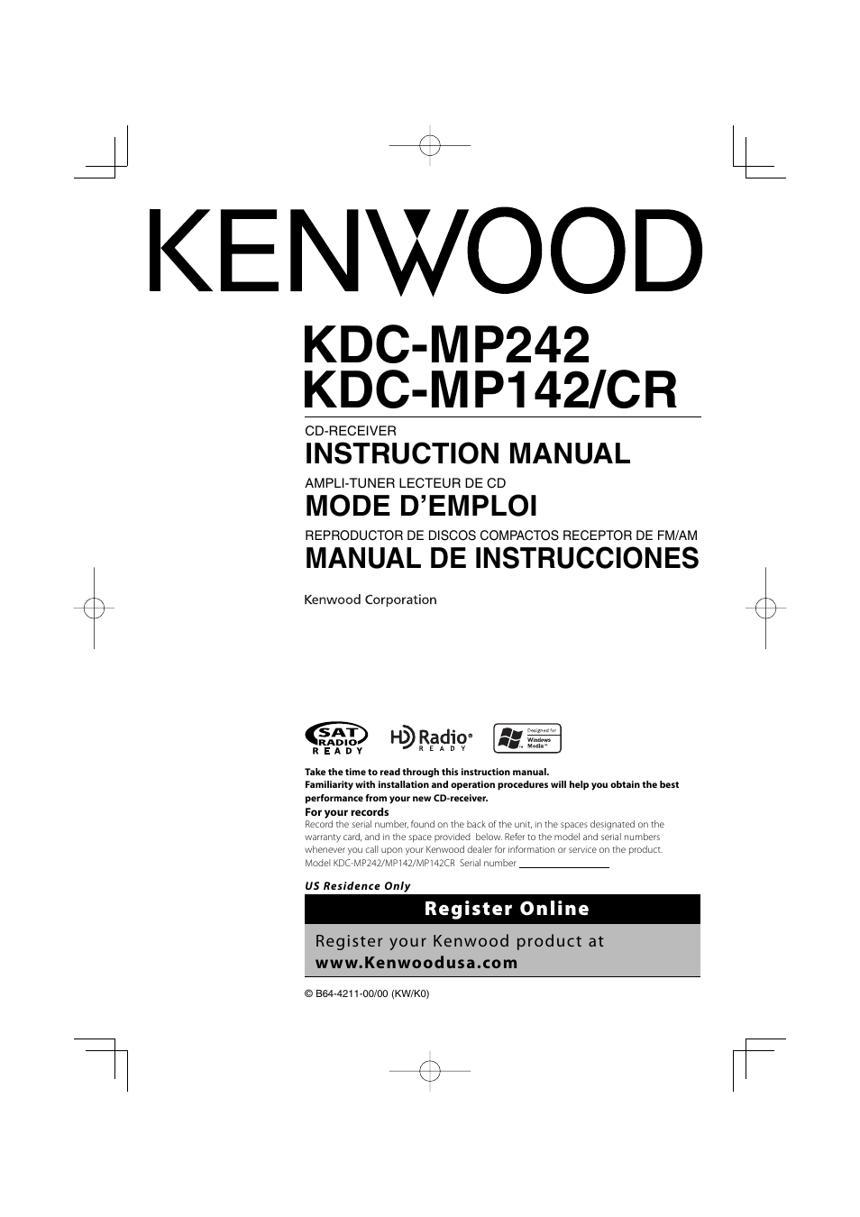 Kenwood Kdc Mp142 Manual Wiring Diagram User 56 Pages Rh Manualsdir Com Sleeve Model