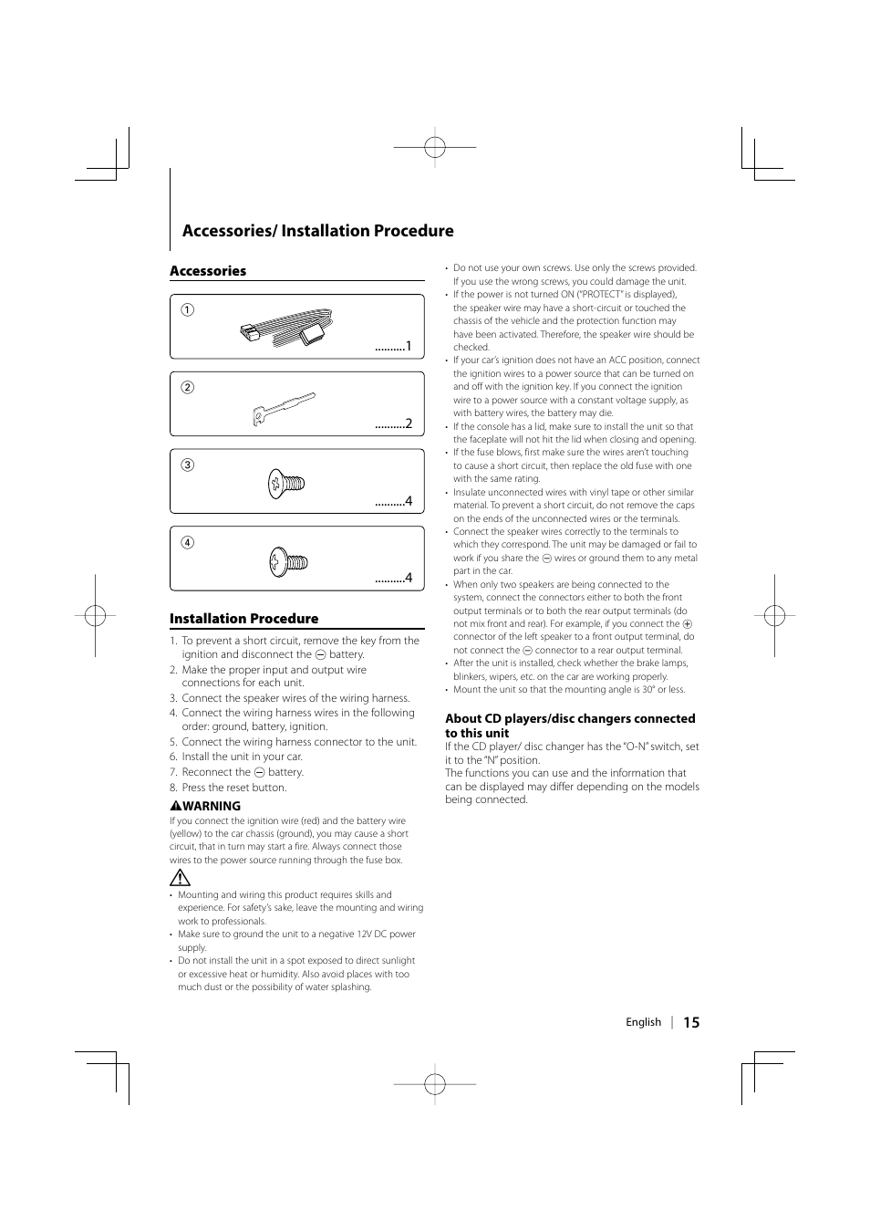 Accessories/ installation procedure | Kenwood KDC-MP142 User Manual | Page  15 / 56