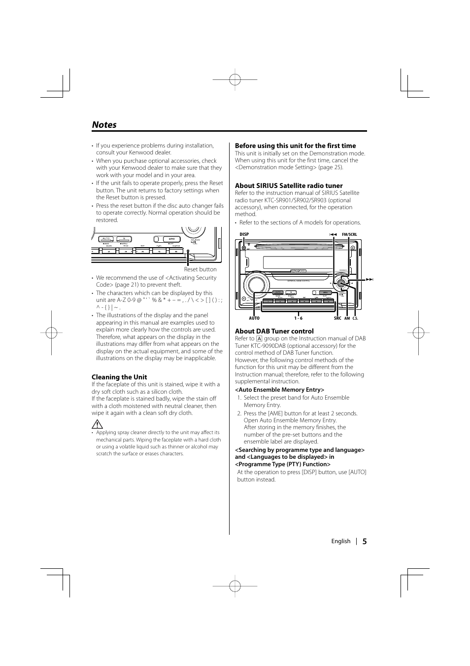 Kenwood DPX301 User Manual | Page 5 / 36 | Original mode on