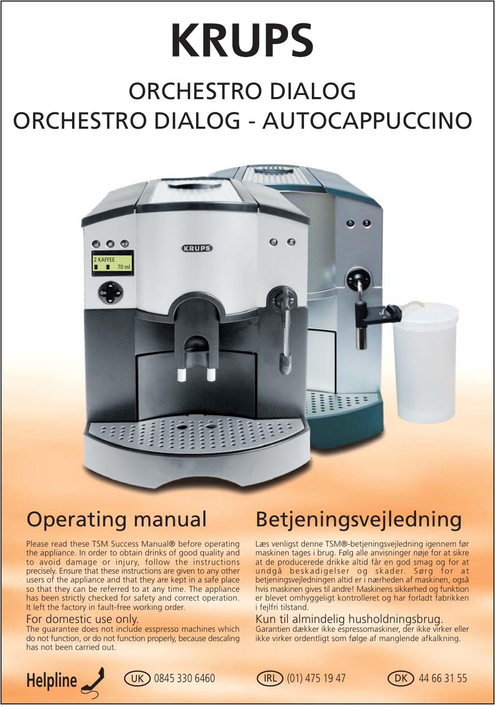 krups orchestro dialog user manual 12 pages original mode. Black Bedroom Furniture Sets. Home Design Ideas