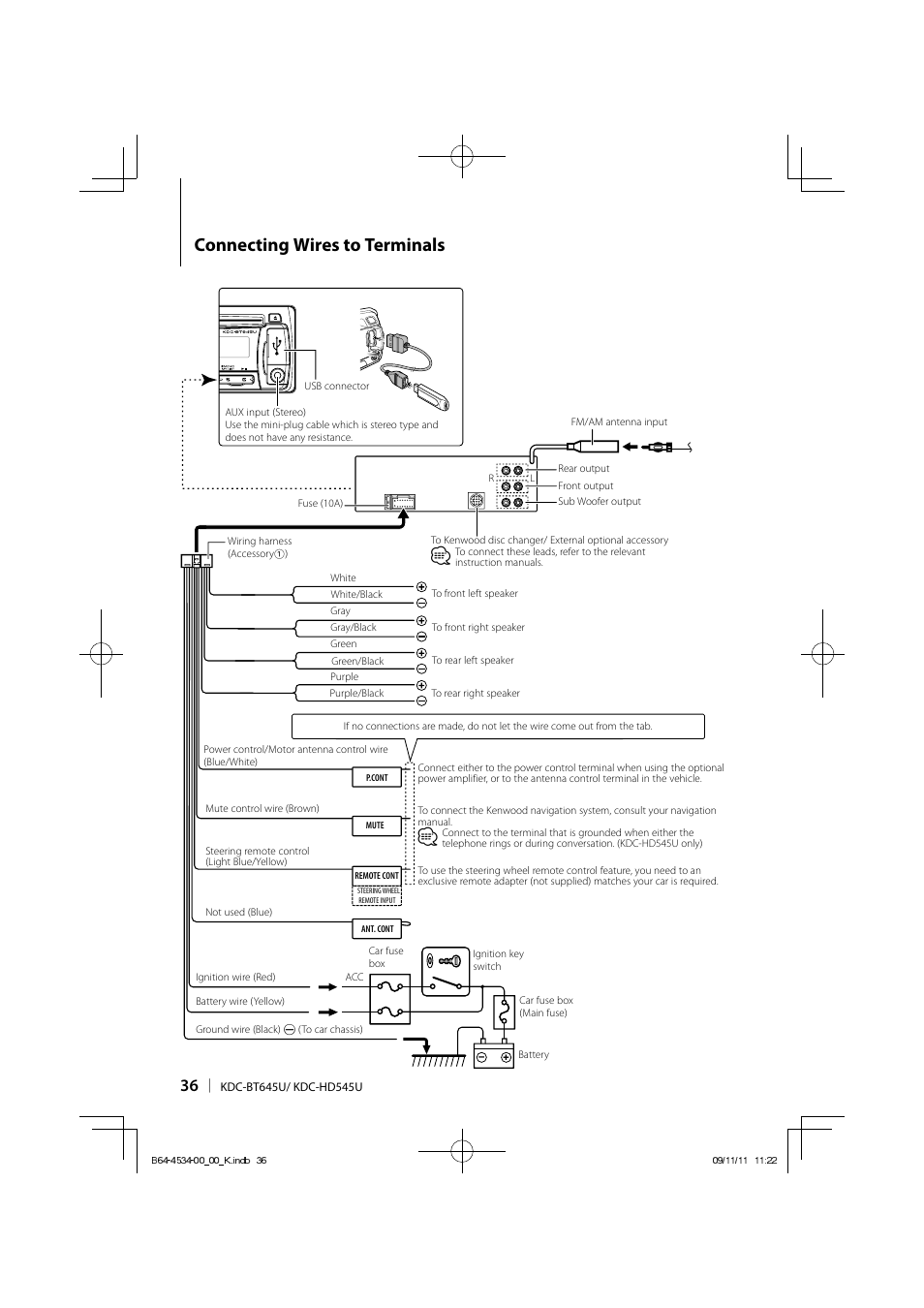 Connecting wires to terminals | Kenwood KDC-HD545U User Manual | Page 36 /  128