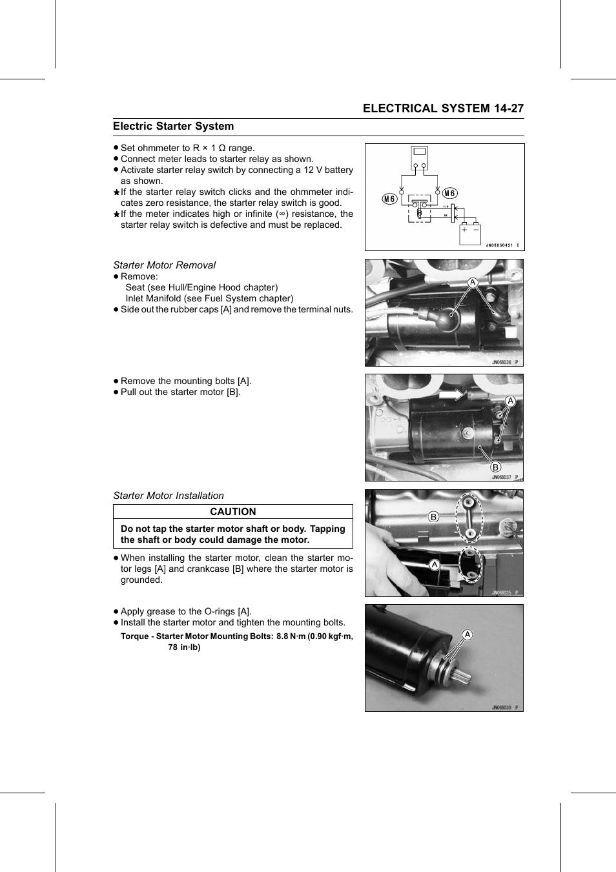 Starter motor removal, Starter motor installation, Torque