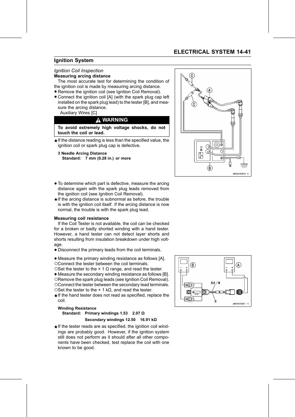 3 needle arcing distance, Winding resistance, Ignition coil inspection |  Kawasaki STX-15F User Manual | Page 367 / 438
