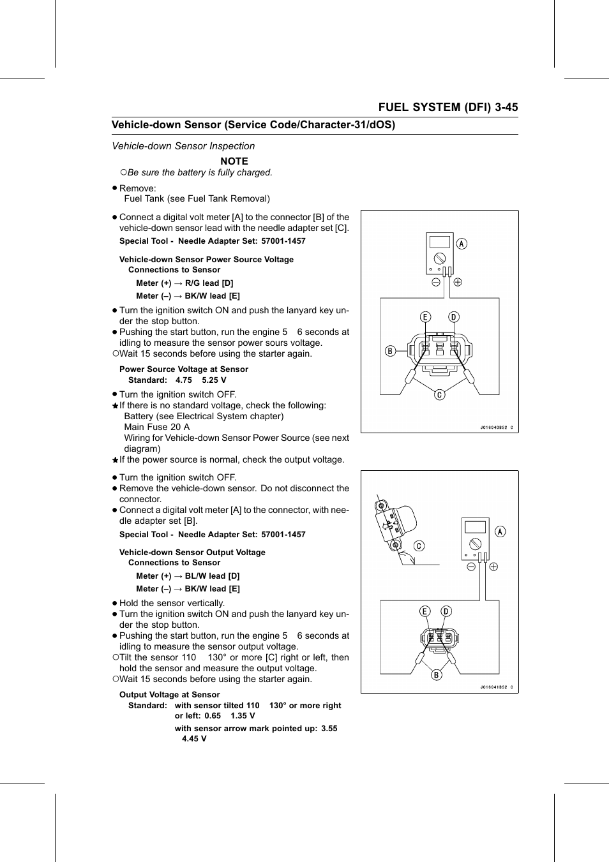Vehicle-down sensor power source voltage, Power source voltage at sensor,  Vehicle-down sensor output voltage | Kawasaki STX-15F User Manual | Page 99  / 438