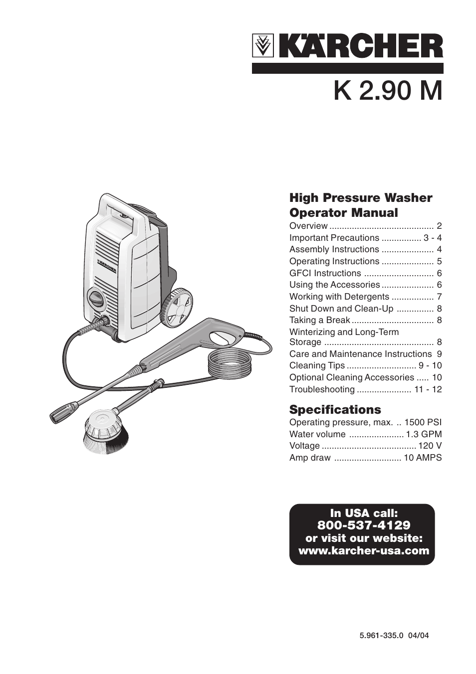 karcher k 2 90 m user manual