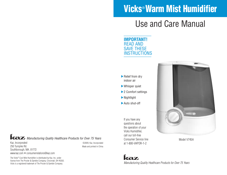 Kaz Vicks Warm Mist Humidifier V745a User Manual 5 Pages
