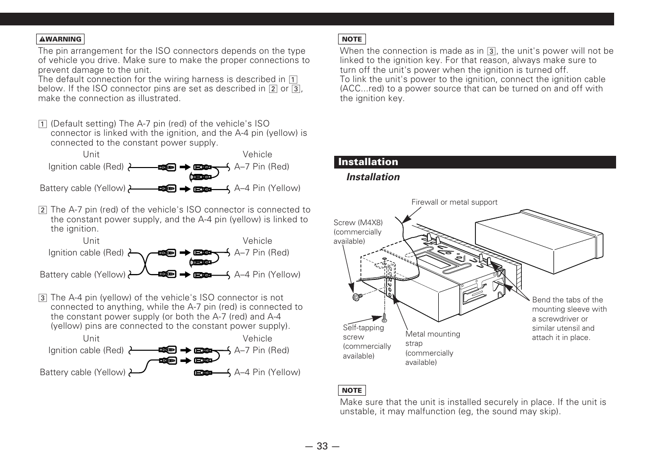 Installation Kenwood Cd Receiver Kdc 6070r User Manual Page 33 40 4pin 7 Pin Wiring Harness