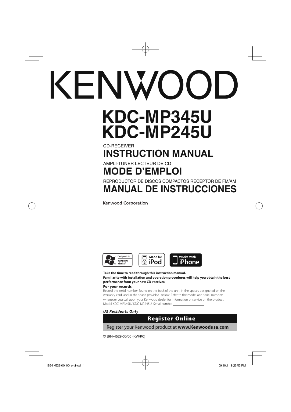 Kenwood Kdc Mp345u Owners Manual Wiring Diagram Mp3035 Model User 68 Pages Also For Mp245u Rh Manualsdir Com