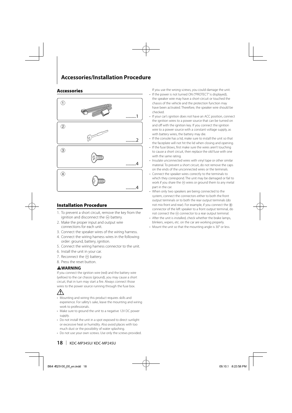Accessories/installation procedure, Accessories 1, Installation procedure | Kenwood  KDC-MP345U User Manual | Page 18 / 68