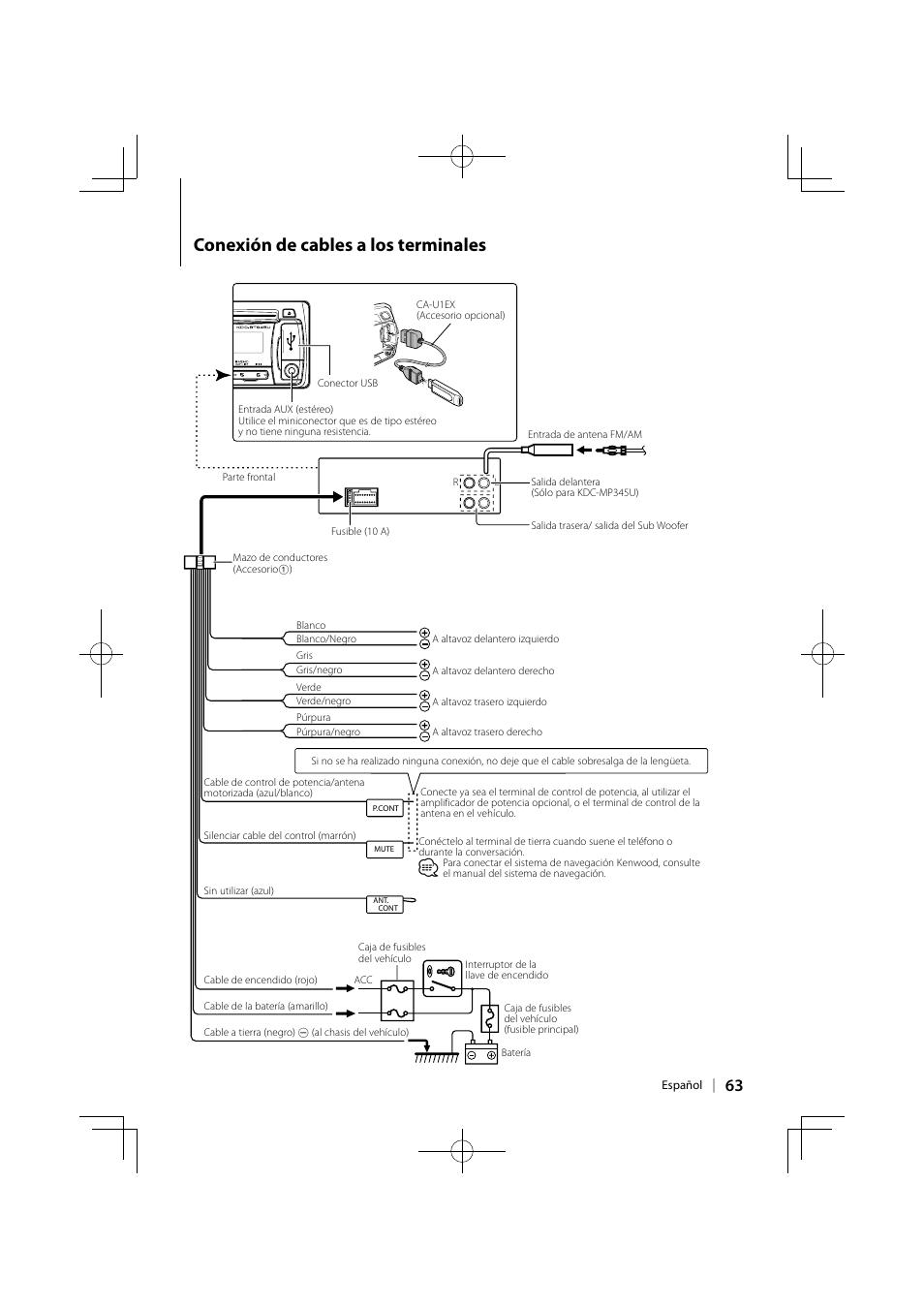 Conexión de cables a los terminales | Kenwood KDC-MP345U User Manual | Page  63