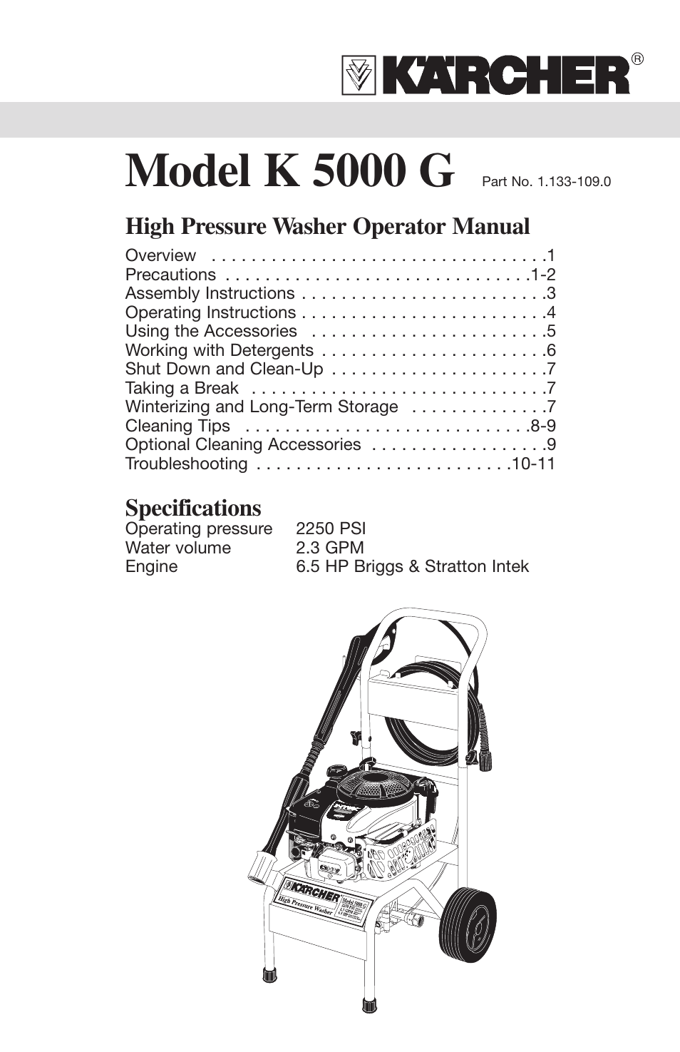 Karcher K 5000 G User Manual | 12 pages