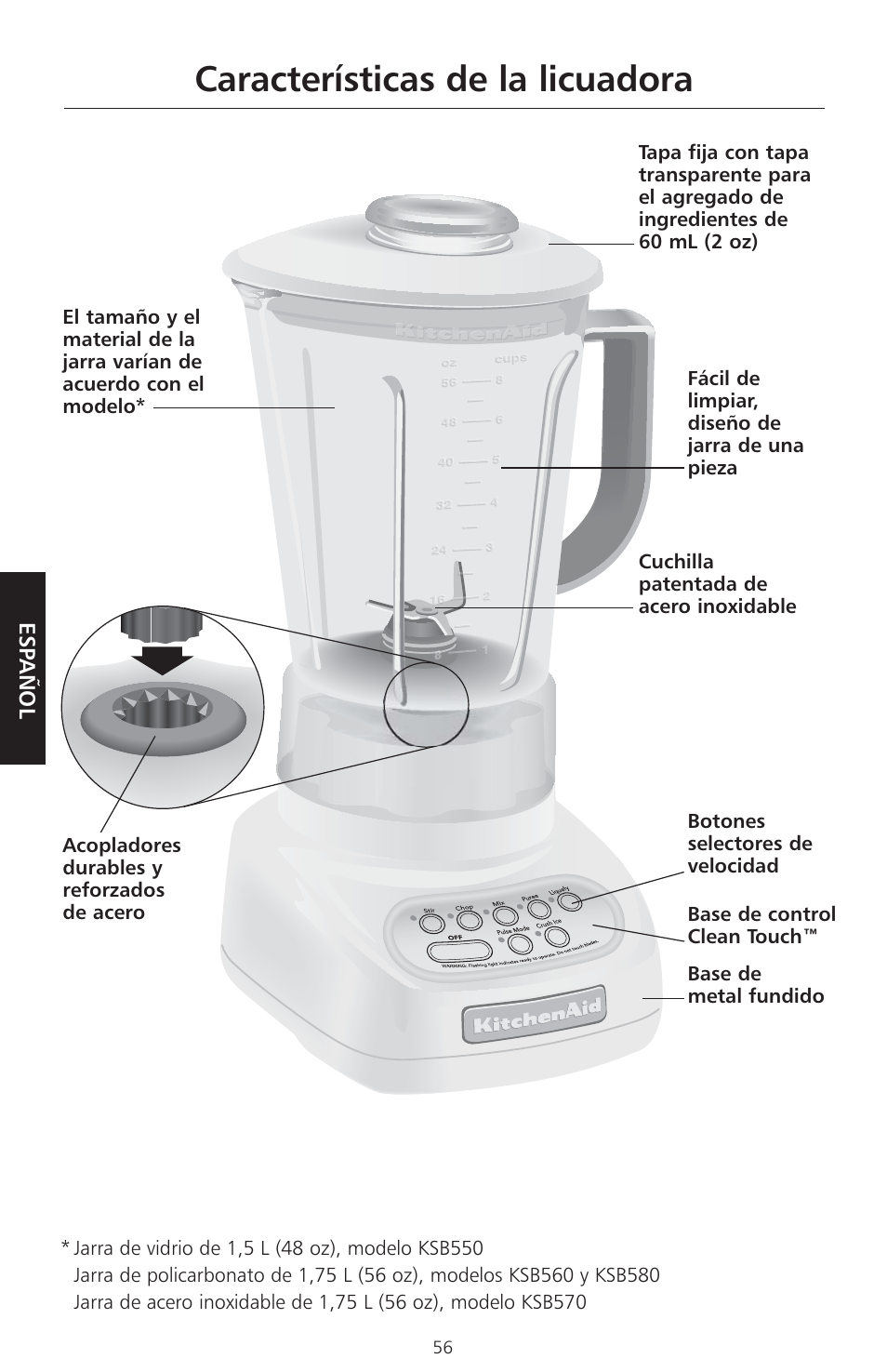 ... Blender Replacement Características De La Licuadora Kitchenaid Ksb560 User Manual Page 59 80 ...