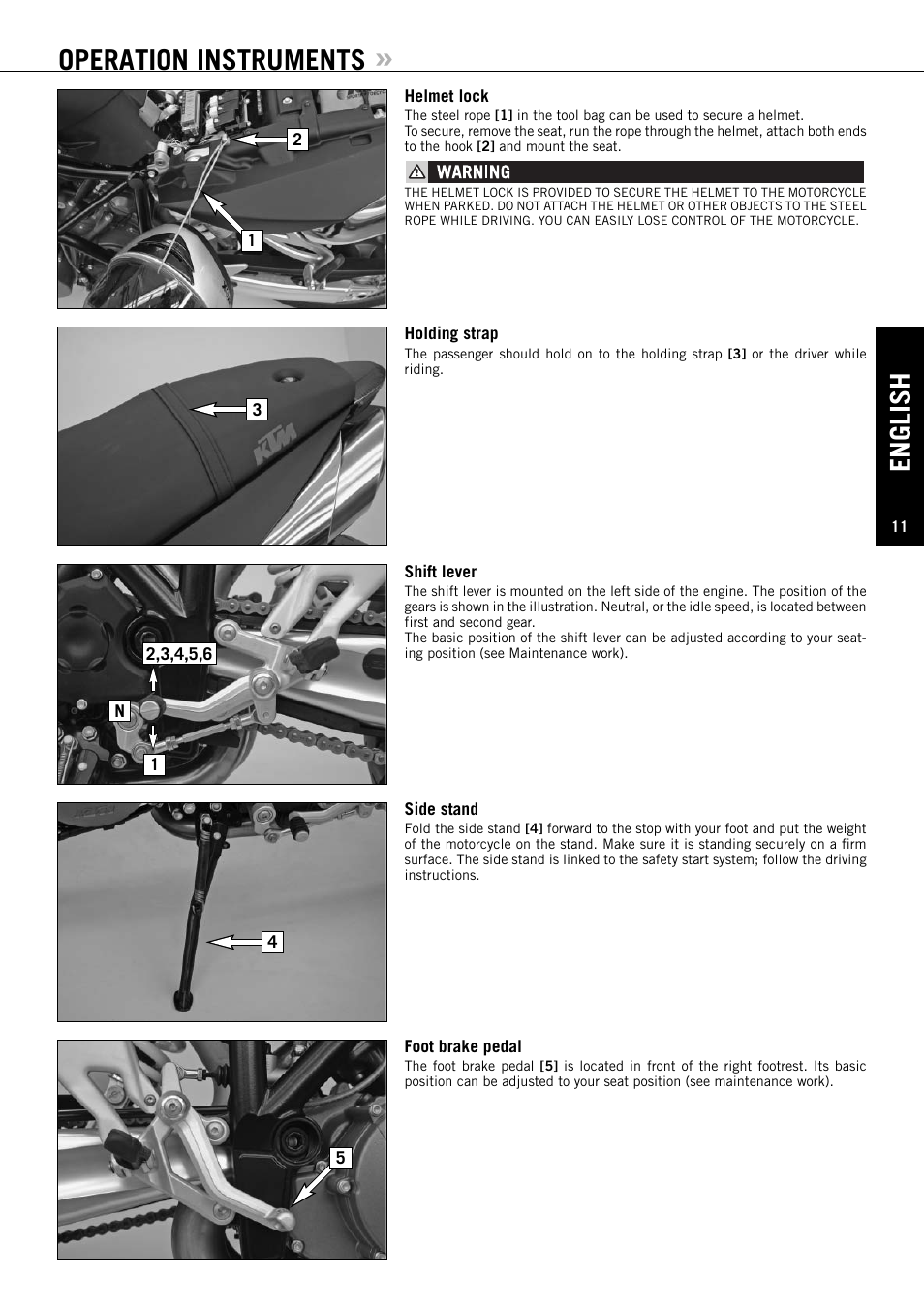 English, Operation instruments | KTM Super Duke 990s User Manual