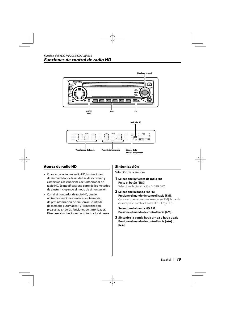 Funciones de control de radio hd, Acerca de radio hd, Sintonización | Kenwood  KDC