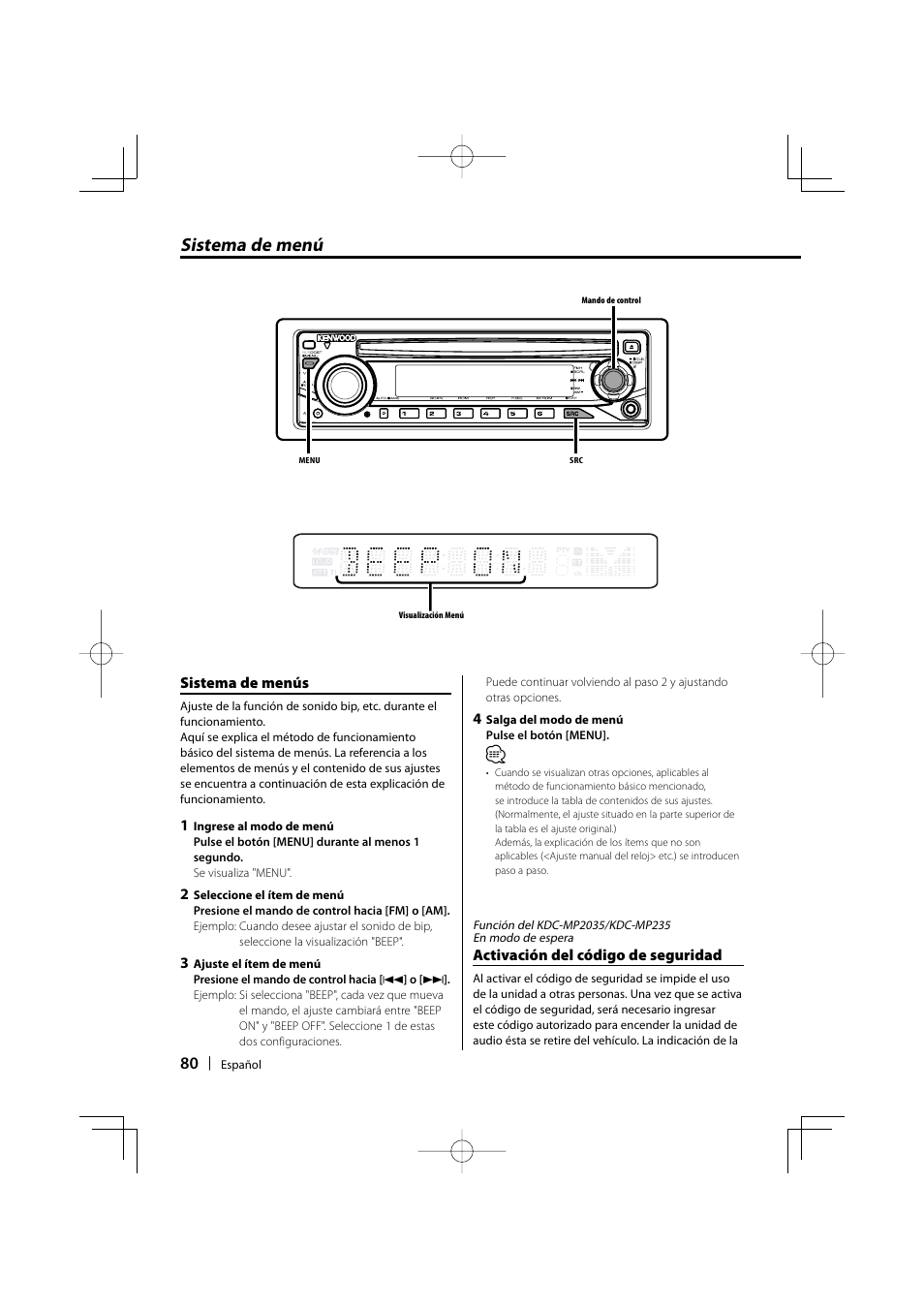 sistema de men kenwood kdc mp205 user manual page 80 96 rh manualsdir com Kenwood KDC MP205 Aux Kenwood KDC MP205 Manual