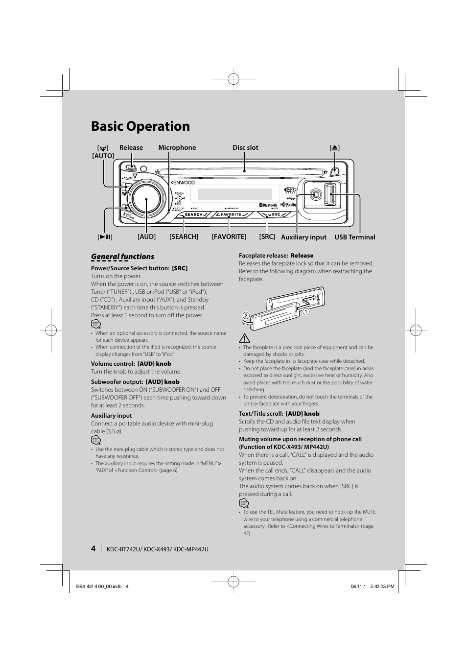 Basic operation | Kenwood KDC-BT742U User Manual | Page 4 / 140