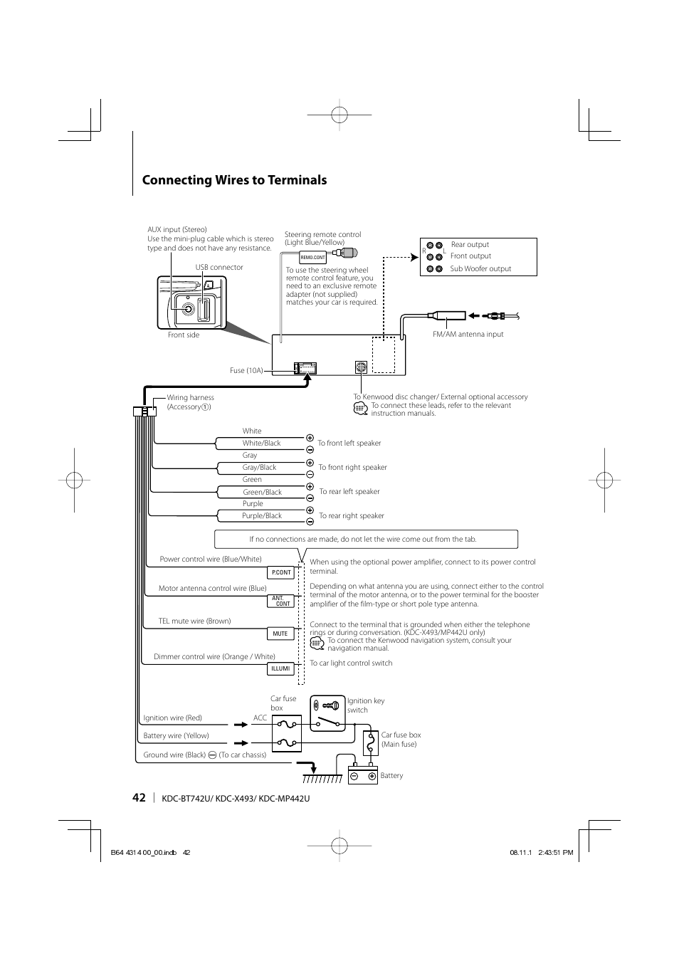 Connecting wires to terminals | Kenwood KDC-BT742U User Manual | Page 42 /  140