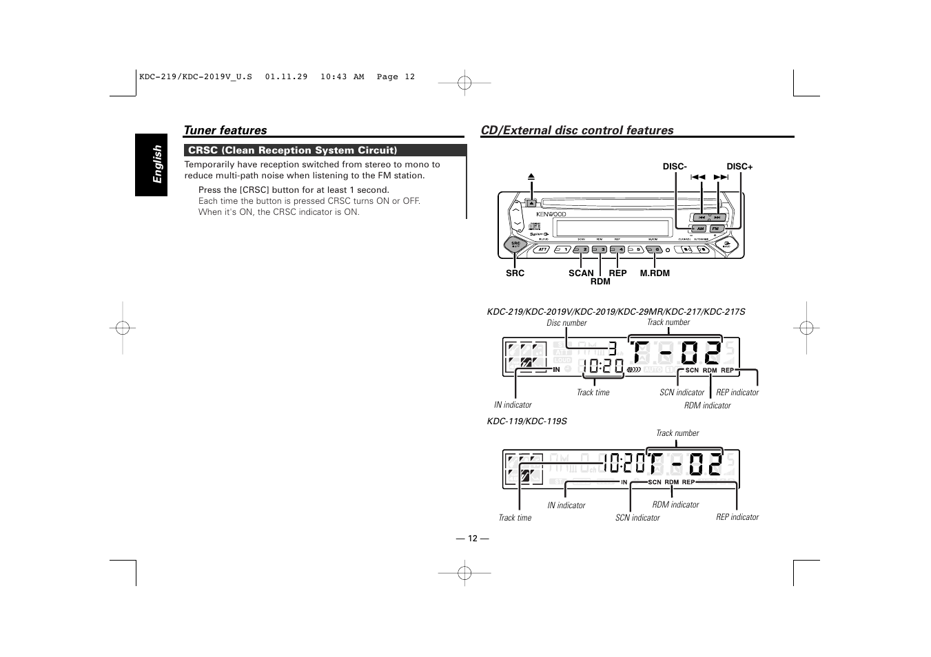 Kenwood Kdc217s Wiring Diagram And Schematics Kdc 322 Cd External Disc Control Features 119 User Manual Page 12 25