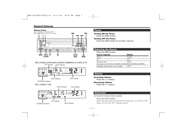 general features kenwood kdc 119 user manual page 7 25 rh manualsdir com Kenwood KDC Bt648u Kenwood KDC Bt648u