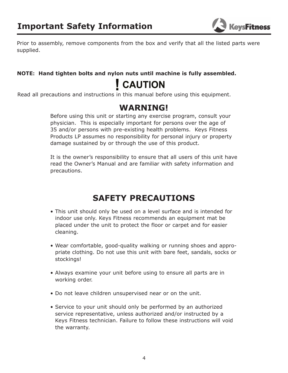 Important safety information, Warning, Safety precautions
