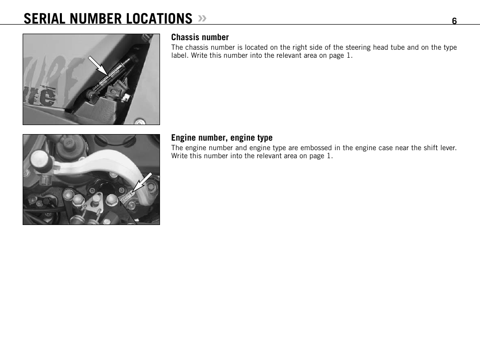 Serial number locations | KTM 990 ADVENTURE S User Manual