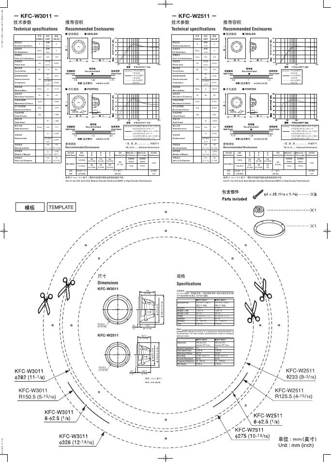 Kfc W3011 Kfc W2511 Ɗ€æœ¯å'æ•° Technical Specifications Kenwood Kfc W3011 User Manual Page 2 2 Original Mode