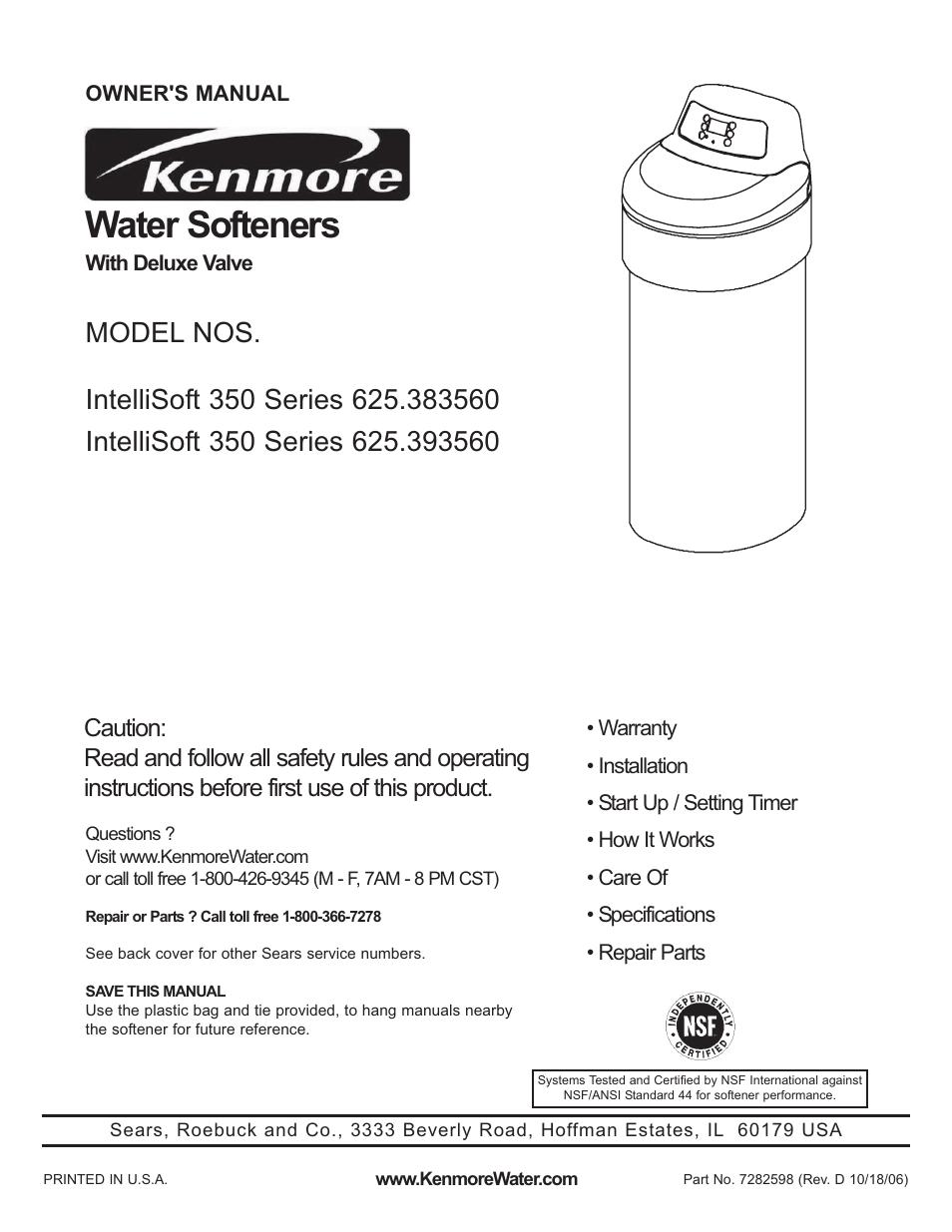 Kenmore Intellisoft 350 Series 625 383560 User Manual