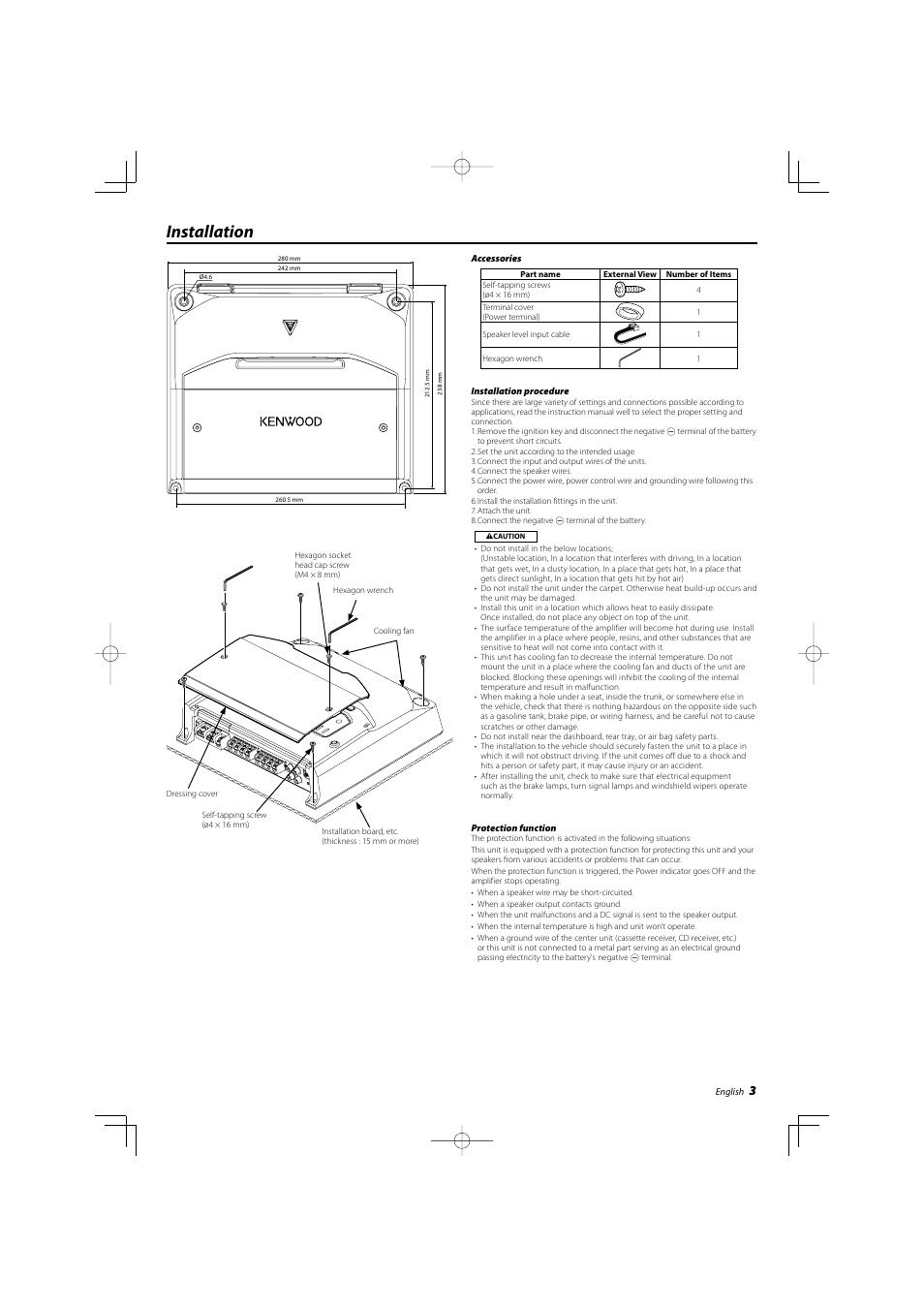 installation kenwood kac 8404 user manual page 3 6 original mode rh manualsdir com Kenwood Amp Kac Gain Kenwood Amplifier 301T